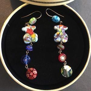 Tous murano glass silver dangling earrings